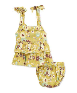 Mustard Yellow Frill Infant Dress - Kids Clothing, Dress - Girls Dress, Yo Baby Online - Yo Baby