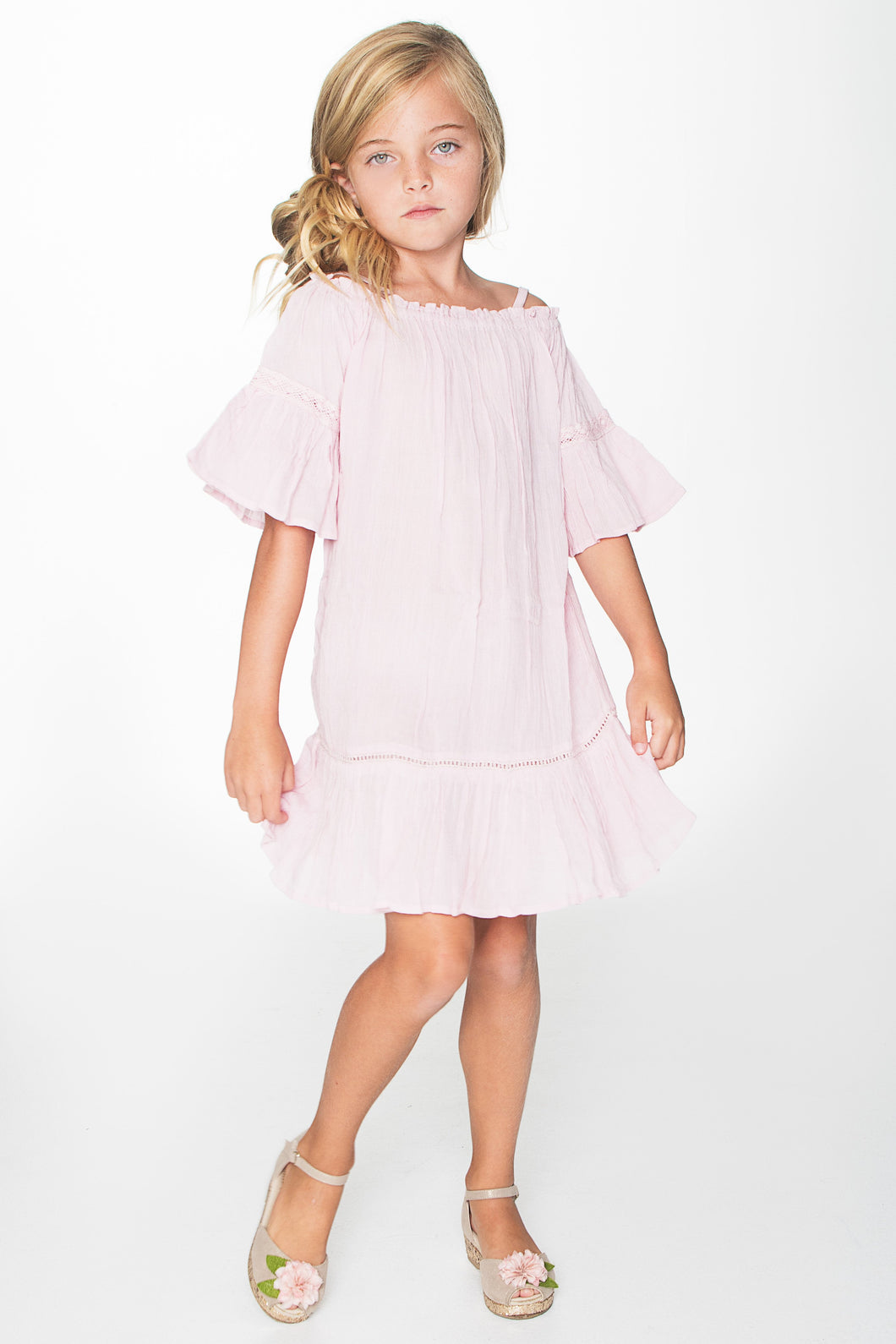Light Pink Lace Detail Dress - Kids Clothing, Dress - Girls Dress, Yo Baby Online - Yo Baby