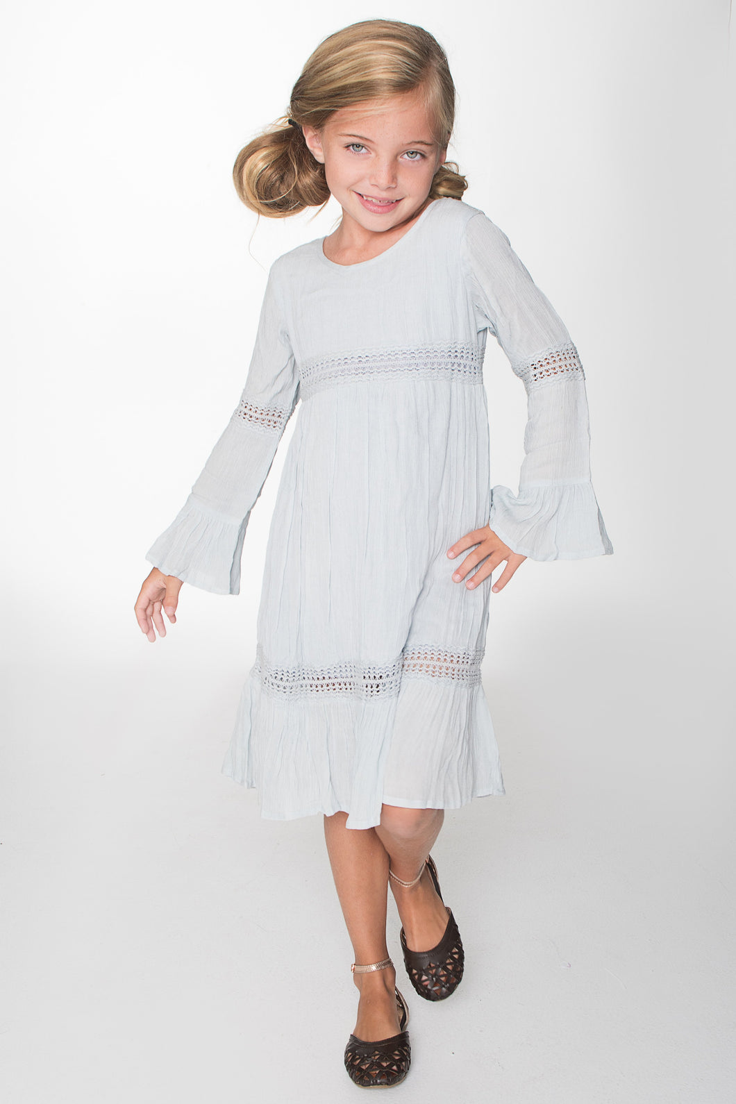 Powder Blue Lace Detail Long Bell Sleeves Dress - Kids Clothing, Dress - Girls Dress, Yo Baby Online - Yo Baby