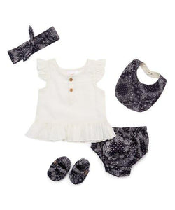 Navy Blue 5 pc. Set - Kids Clothing, 5-pc. Set - Girls Dress, Yo Baby Online - Yo Baby