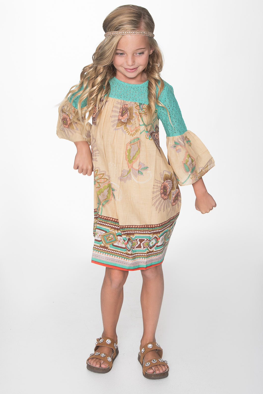 Teal and Beige Bell Sleeves Dress - Kids Clothing, Dress - Girls Dress, Yo Baby Online - Yo Baby