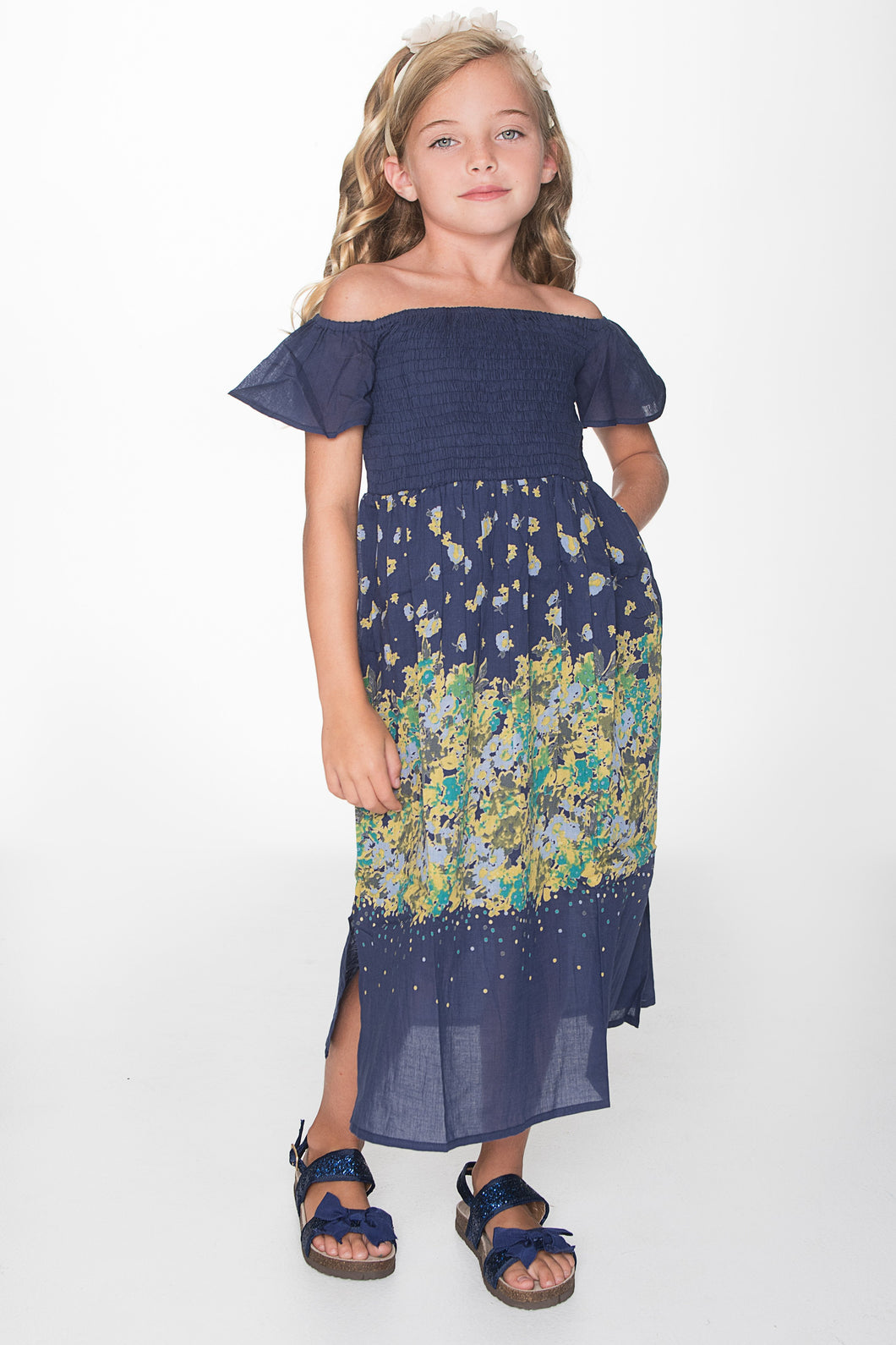 Navy Blue Floral Maxi Dress - Kids Clothing, Dress - Girls Dress, Yo Baby Online - Yo Baby