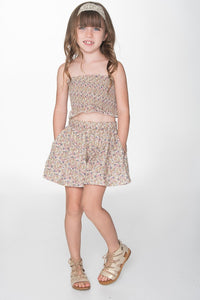 Floral Divided Skirts and Smocked Top - Kids Clothing, Dress - Girls Dress, Yo Baby Online - Yo Baby