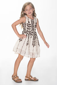 Off white and Brown Leaf Print Dress - Kids Clothing, Dress - Girls Dress, Yo Baby Online - Yo Baby
