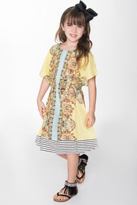 Sunshine Yellow Kaftan Dress - Kids Clothing, Dress - Girls Dress, Yo Baby Online - Yo Baby