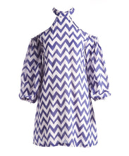 Blue and White Cold Shoulder Chevron Dress - Kids Clothing, Dress - Girls Dress, Yo Baby Online - Yo Baby
