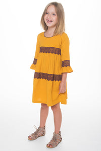 Mustard Lace Dress - Kids Clothing, Dress - Girls Dress, Yo Baby Online - Yo Baby