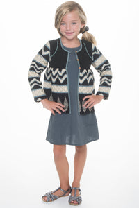 Black Tribal Print Quilted Jacket With lace Details - Kids Clothing, Dress - Girls Dress, Yo Baby Online - Yo Baby