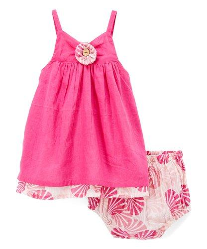 Solid Pink and Printed Slip Dress