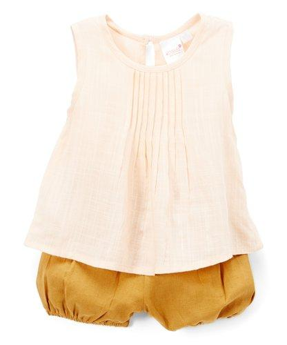 Pink Pin-tuck Detail Top and Camel Shorts 2pc. set