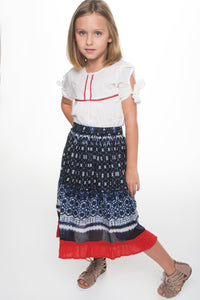 Red White and Blue Skirt and Top 2 pc. Set - Kids Clothing, Dress - Girls Dress, Yo Baby Online - Yo Baby