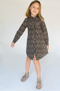 Grey Leaf Print Shirt Dress with Frill and Drawstring Detail