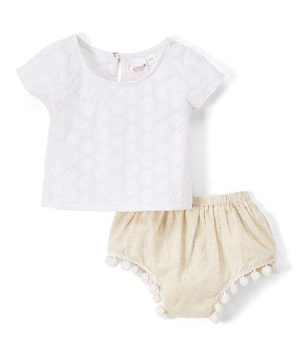White Floral Embossed Top and Shorts 2pc.set Top and Bottom - Kids Clothing, Dress - Girls Dress, Yo Baby Online - Yo Baby