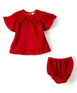 Red Velvet Infant Ruffle Dress - Kids Clothing, Dress - Girls Dress, Yo Baby Online - Yo Baby
