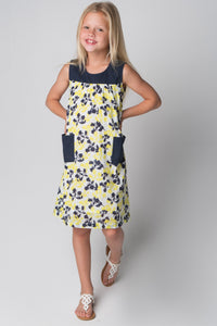 Floral Navy & Yellow Apron Style Dress - Kids Clothing, Dress - Girls Dress, Yo Baby Online - Yo Baby