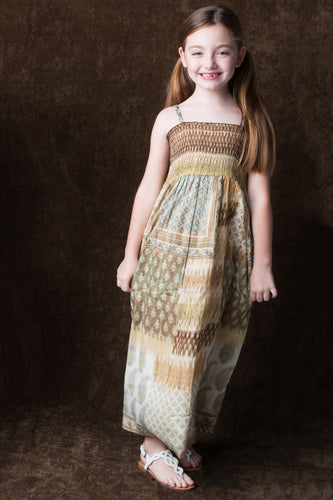 Abstract Maxi Dress - Kids Clothing, Dress - Girls Dress, Yo Baby Online - Yo Baby