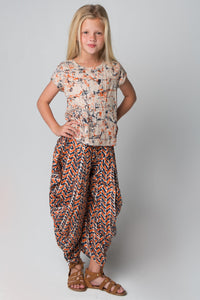 Orange & Navy Harem Pants and Top 2pc.Set - Kids Clothing, Dress - Girls Dress, Yo Baby Online - Yo Baby