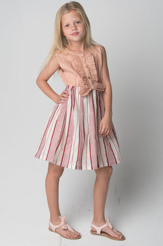 Ruffles and Bowtie Shirt and Striped Skirt One Piece Dress