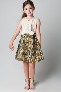 Ruffles and Bowtie Shirt and Skirt One Piece Dress