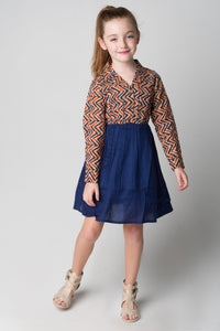 Navy & Orange Chevron Shirt and Skirt One Piece Dress