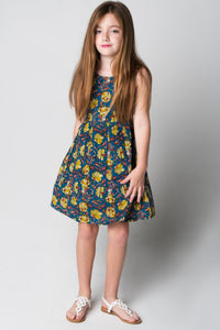 Navy & Yellow Floral Shift Dress - Kids Clothing, Dress - Girls Dress, Yo Baby Online - Yo Baby
