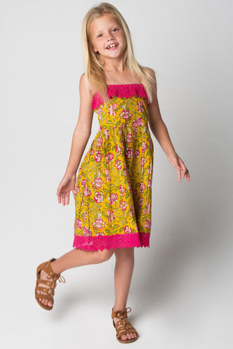 Yellow & Pink Lace Dress