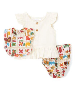 Abstract Animal Print 3pc. Set - Kids Clothing, Dress - Girls Dress, Yo Baby Online - Yo Baby