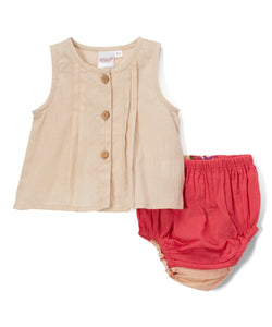Coral Diaper Cover and Peach Pleated Top  2pc.set