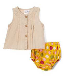 Yellow Diaper Cover and Peach Pleated Top  2pc.set - Kids Clothing, Dress - Girls Dress, Yo Baby Online - Yo Baby