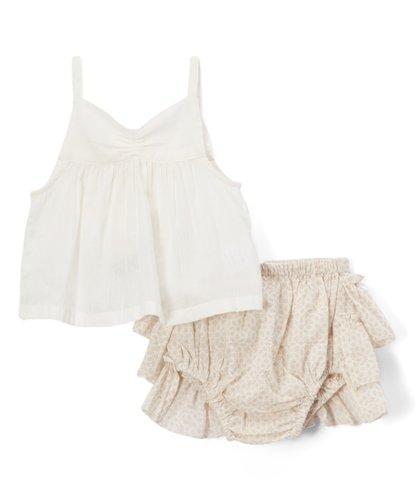 Beige Ruffled diaper cover and Tank Top  2pc.set - Kids Clothing, Dress - Girls Dress, Yo Baby Online - Yo Baby