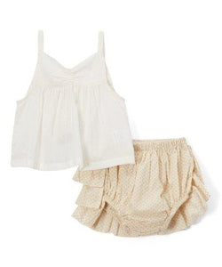 Cream Ruffled diaper cover and Tank Top  2pc.set - Kids Clothing, Dress - Girls Dress, Yo Baby Online - Yo Baby
