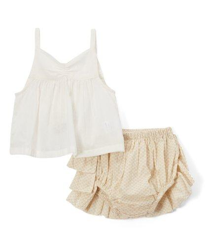 Cream Ruffled diaper cover and Tank Top  2pc.set