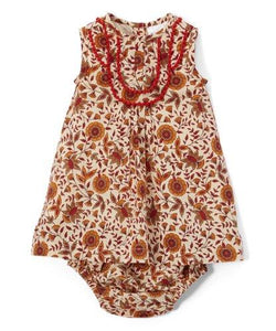 Red & Tan Infant Dress With lace Details & Matching Diaper Cover