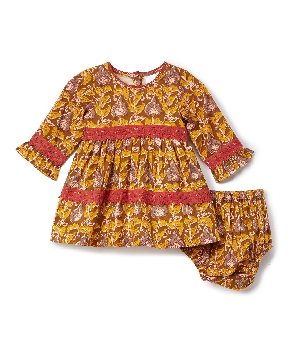 Yellow & Pink Lace Detail Dress - Kids Clothing, Dress - Girls Dress, Yo Baby Online - Yo Baby