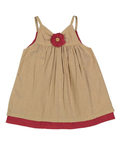 Tan and Red Flower Detail Infant Dress - Kids Clothing, Dress - Girls Dress, Yo Baby Online - Yo Baby