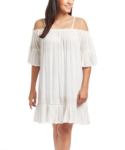 Off-White Lace Detail Off-Shoulder Dress - Kids Clothing, Dress - Girls Dress, Yo Baby Online - Yo Baby