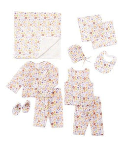 10pc. Purple and Orange Floral Print Layette Set - Kids Clothing, 10-pc. set - Girls Dress, Yo Baby Online - Yo Baby