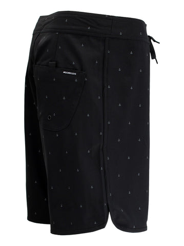 Men Boardshort Retro Ancla Black Print Grey