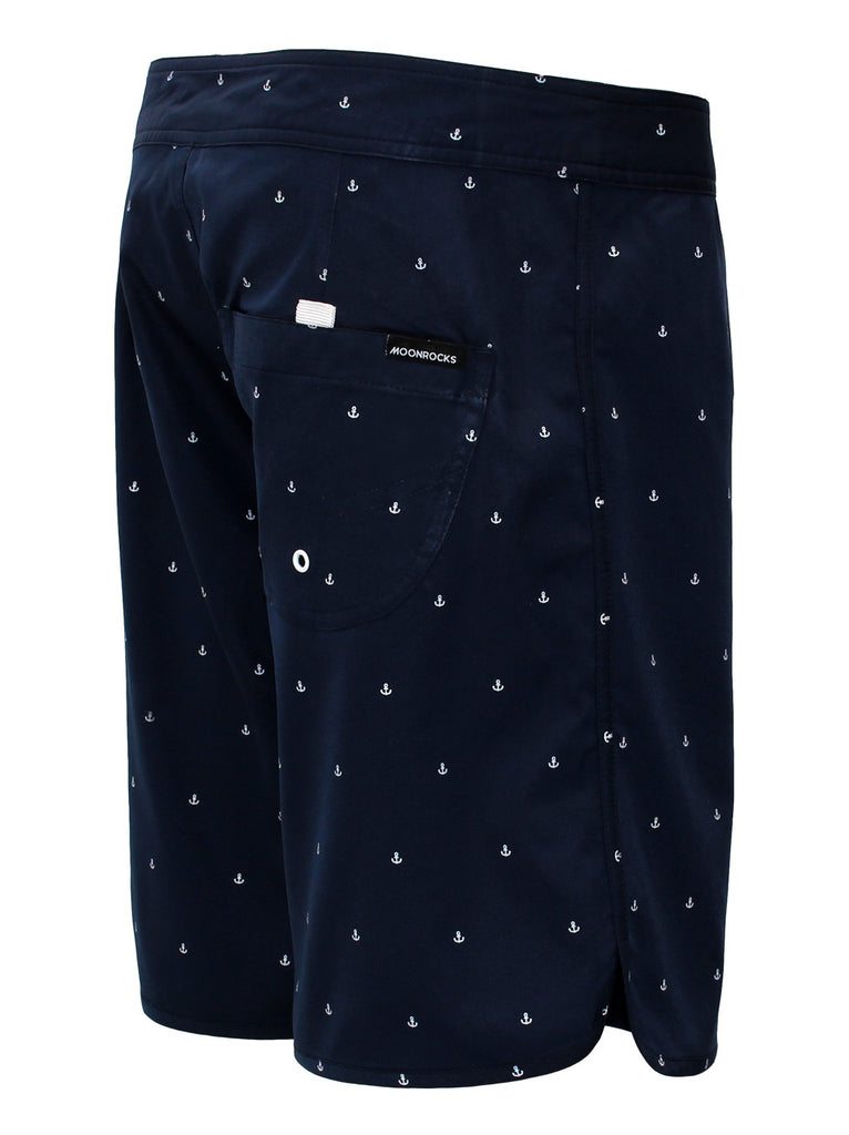 Men Boardshort Retro Ancla Navy Print White