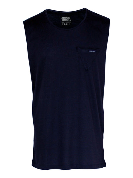 Men Singlet Pocket Tri Plain. Navy