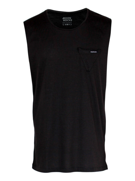 Men Singlet Pocket Tri Plain. Charcoal