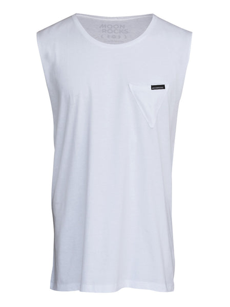 Men Singlet Pocket Tri Plain. White
