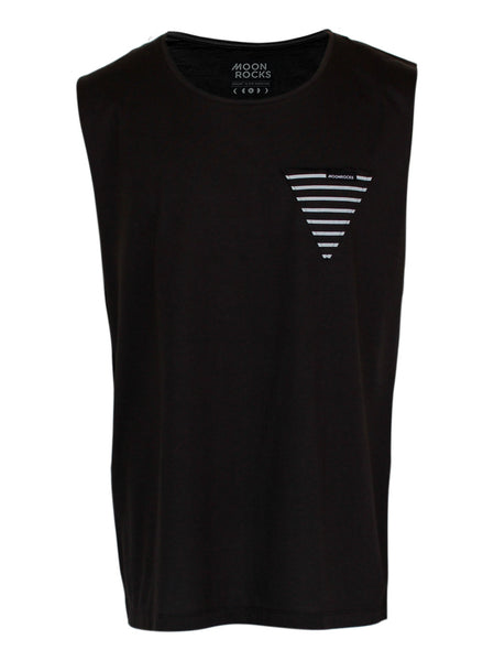 Men Singlet Pocket Tri Garis. Charcoal