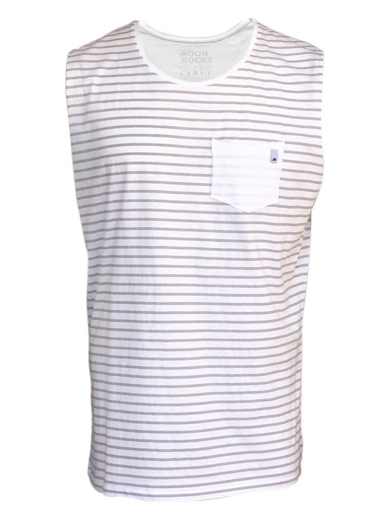 Men Singlet Pocket Marino. White/grey stripes