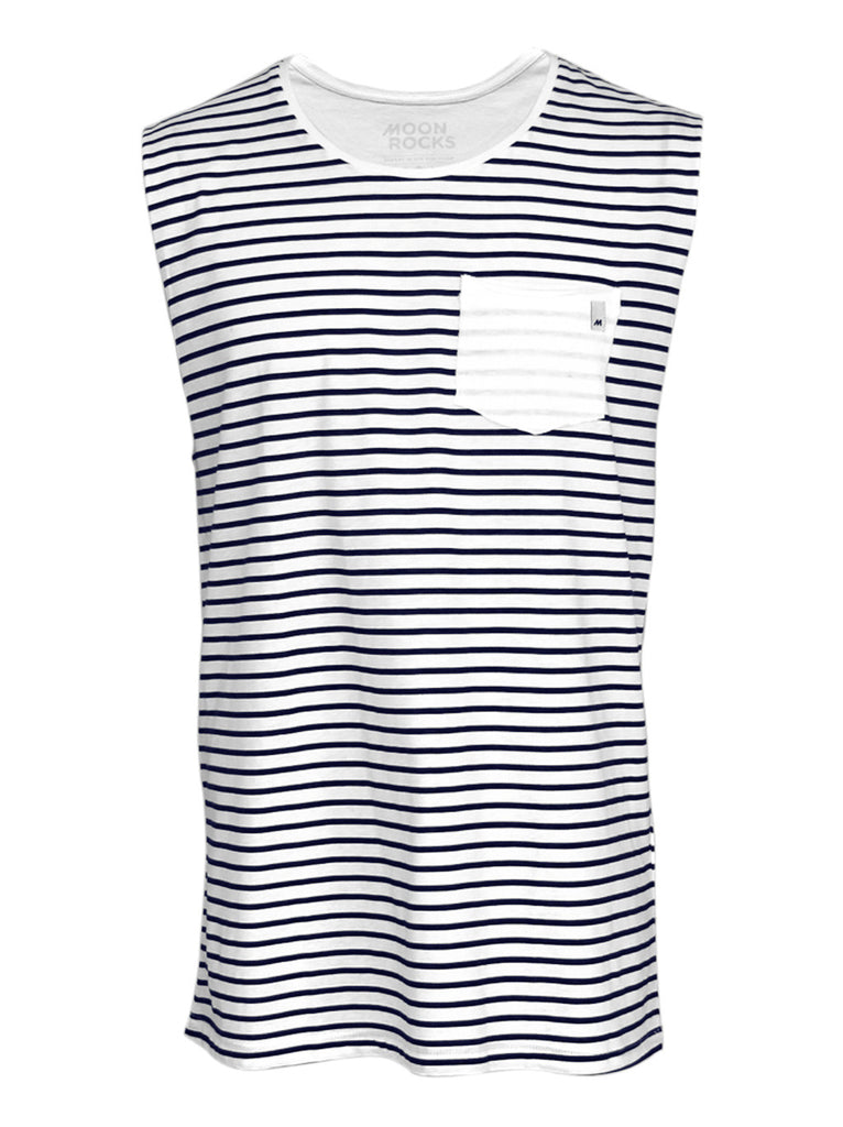 Men Singlet Pocket Marino. White/navy stripes