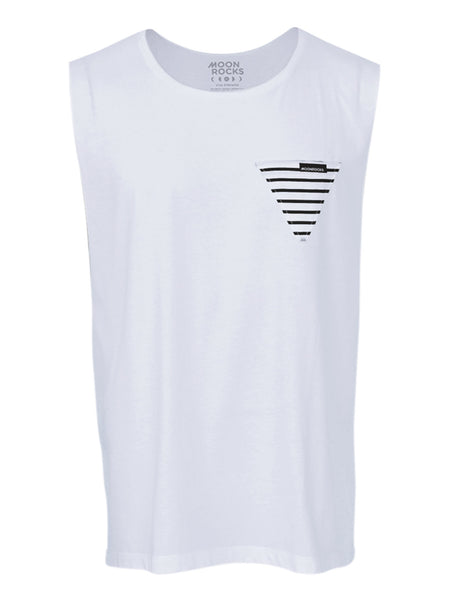 Men Singlet Pocket Tri Garis. White