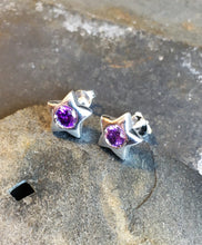 Load image into Gallery viewer, SS320B - PURPLE CZ STAR STUD 10MM