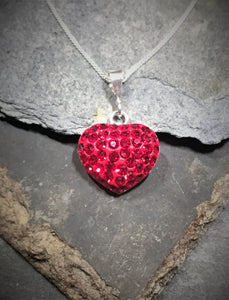 SP155BC - RED CZ HEART PENDANT