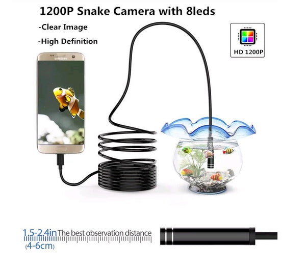 HD 1200P 8LED IP68 WiFi Endoscope 5M - Electromann SA