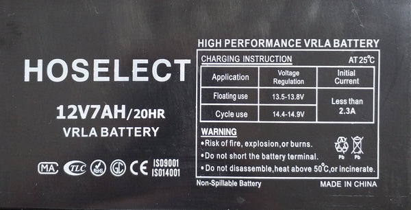Hoselect (High Performance) 7ah 12v Rechargeable Battery